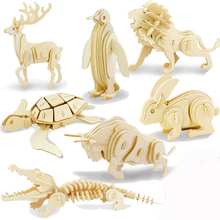 Factory Producing style educational toys 3d wooden puzzle animals