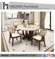 Large Marble Dining Table with 6 Alpine Leather Dining Chairs T808-M+MAF297+C708-1