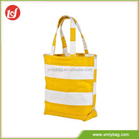 Popular strip pattern yellow and white canvas supermarket shopping bag