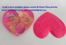 27.5*25*1.8cm heart-shaped pink melamine children plate with printing (L3B002)