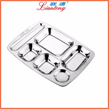 manufacturer wholesale food grade metal snack tray with compartments, lunch tray stainless steel