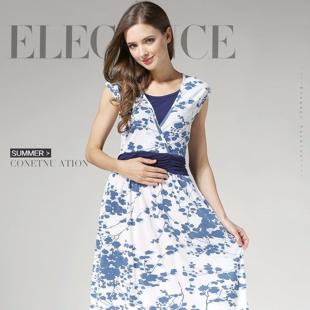 Maternity Evening Dress Korean Style Nursing Clothing Floral Pregnant Mothers Skirts