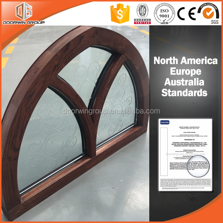 New product fantastic arched solid oak wood window frame with carved glass