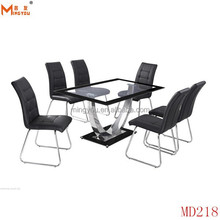 CONTEMPORARY MODERN GLASS DINING TABLE SILVER LEG AND 6 CHAIRS, STUNNING DINING