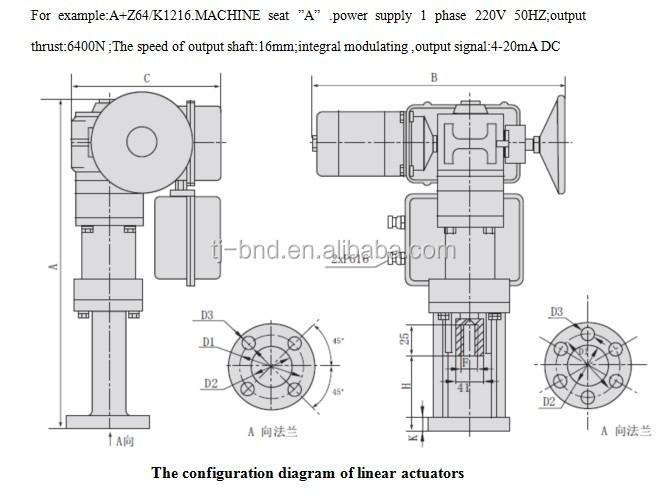 4-20ma control valves electric linear actuator