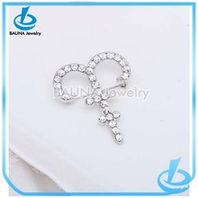 Wholesale clear rhinetone rhodium plated zodiac brooch