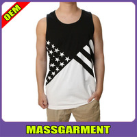 Wholesale Famous Stars & Straps Men's Noir Flag Tank Top Black White USA Pride Flag stree