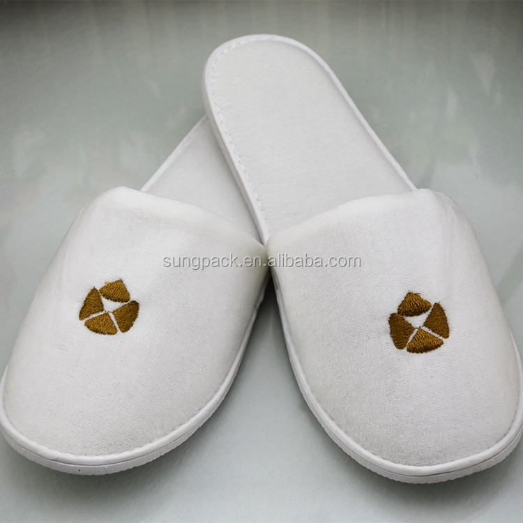 Disposable Terry Towel Custom Footwear Wholesale Slippers for SPA Hotel Guest Slippers