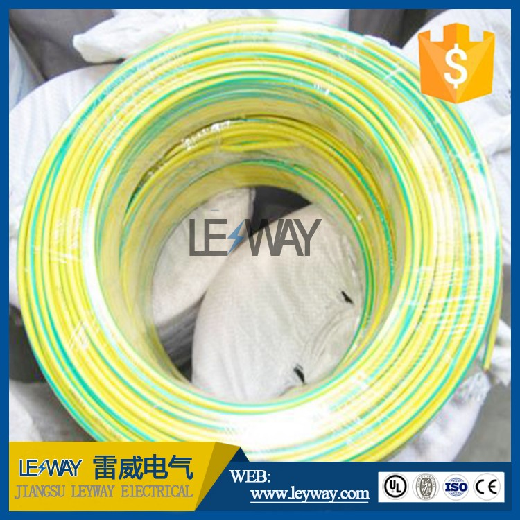 Tinned copper stranded Conductor and PVC insulation Green yellow color ground electric wire cable