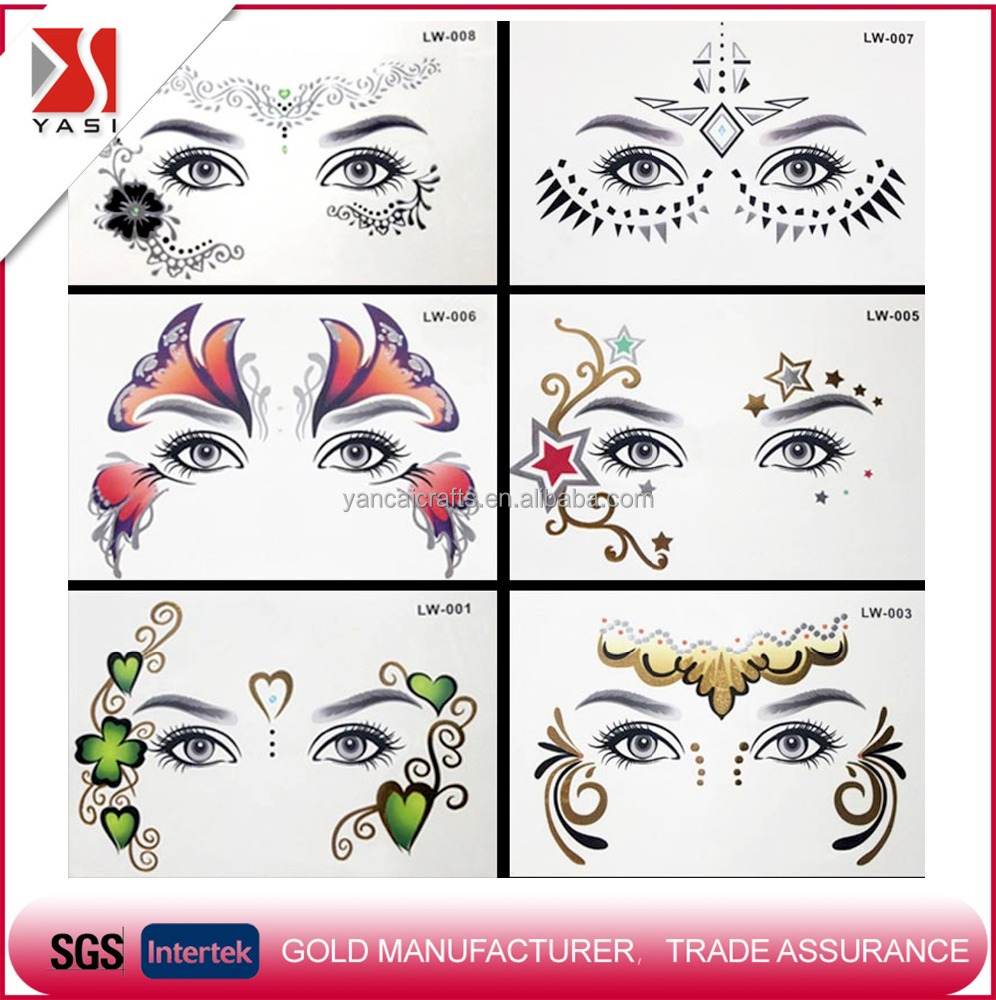 2016 new fashionable T stage show party temporary mask face makeup and eye flash gold metallic tattoo