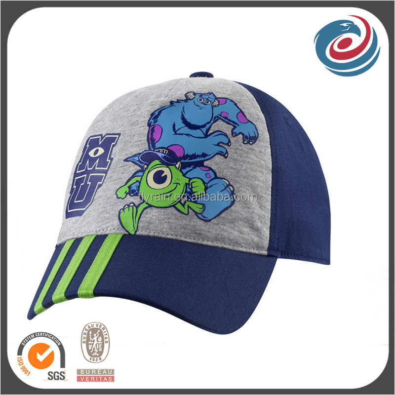 boys designed lovely printing five panels knitted fabric baseball hat