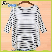 Women Casual Long Batwing Sleeve O-neck T-Shirt Ladies Loose Stripe top-quality