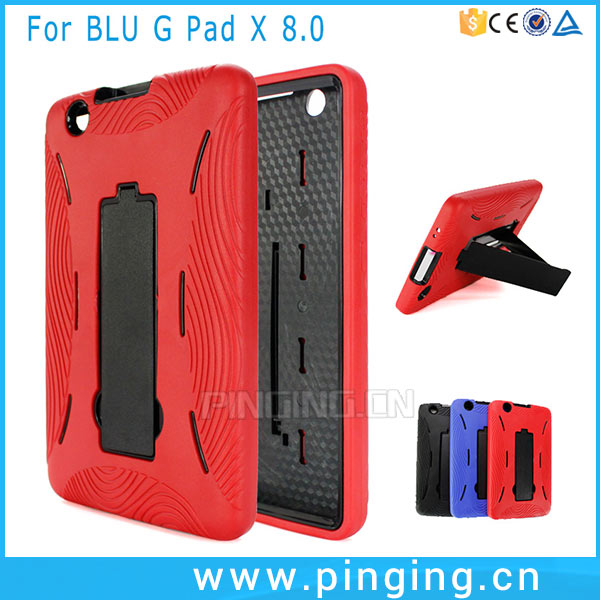 PC TPU 2 in 1 Hybrid Robot Kickstand Case For LG G Pad X 8.0 Cover
