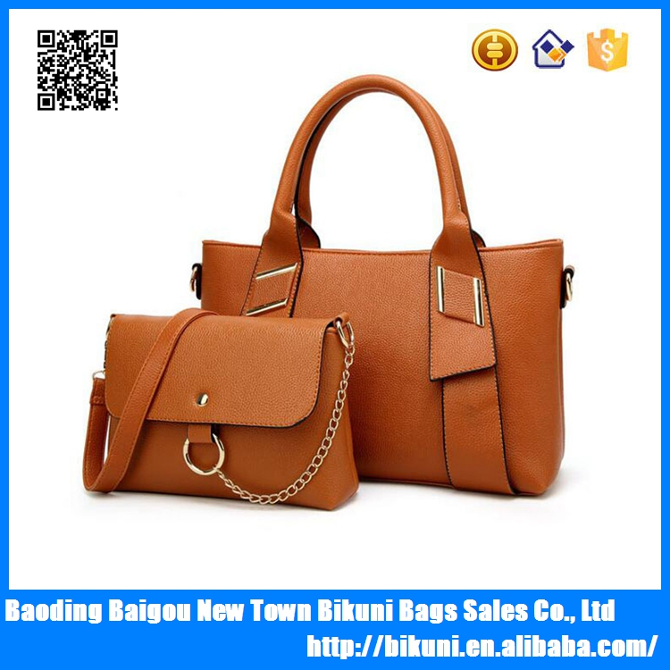 Fashion PU leather high quality tote women handbag with small bag