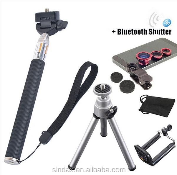 bluetooth selfie stick monopod camera lens kit magnetic 3 in 1 wide macro fisheye lens for. Black Bedroom Furniture Sets. Home Design Ideas