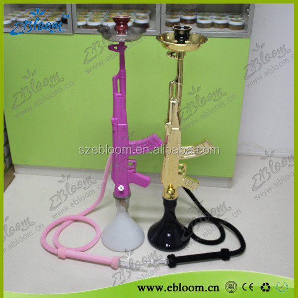 2015 hot sale crystal large shisha ak47 gun hookah