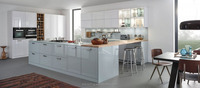 Tempered frosty glass countertop and fresh feeling lacquer molded door panel kitchen