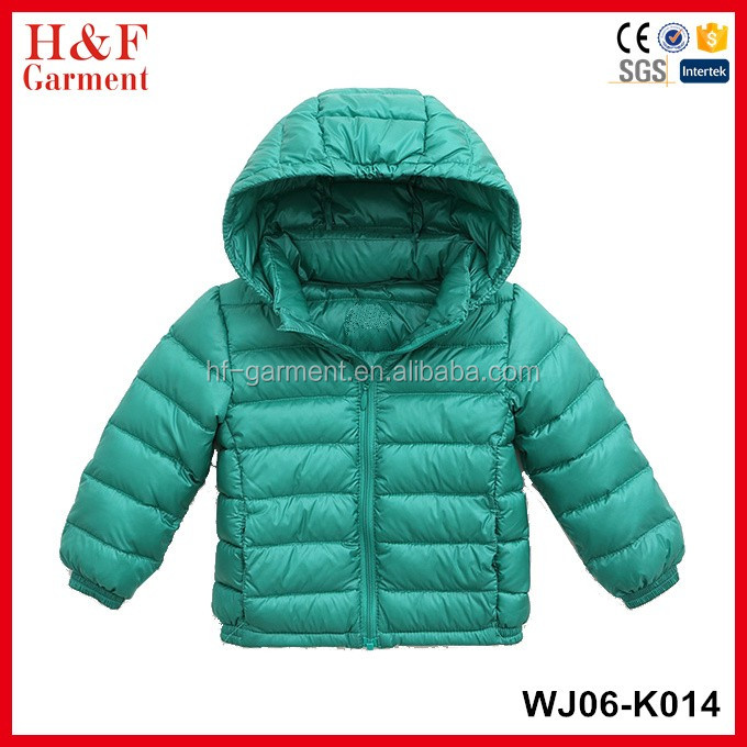 Custom fashion kids lightweight down coat/OEM cheap children duck down winter jackets