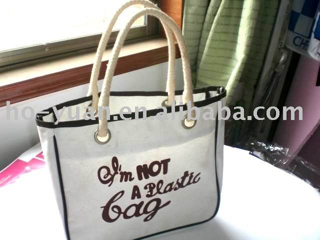 Canvas Sholder Bag City Tote Bag Beach Travel Rope Handle Shopping Bag