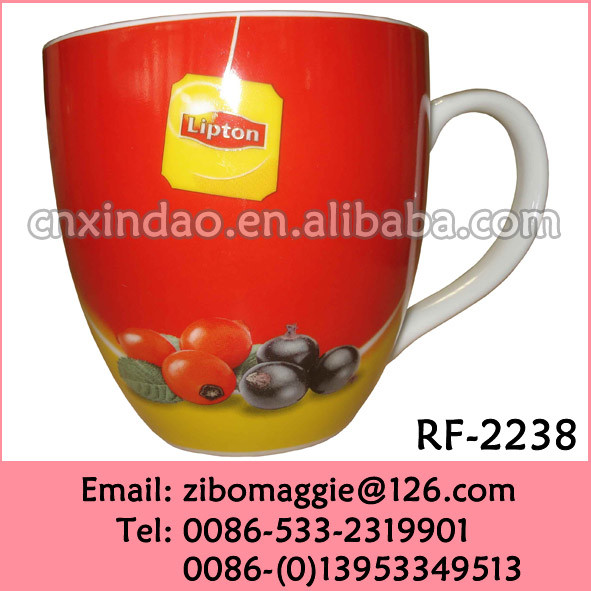 Belly Shape Plain White Porcelain Coffee Mugs Cups with Lipton Design for Wholesale Items