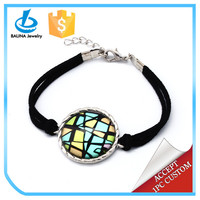 Wonderful double black leather chain lobster clasp alloy round picture geometry bracelet