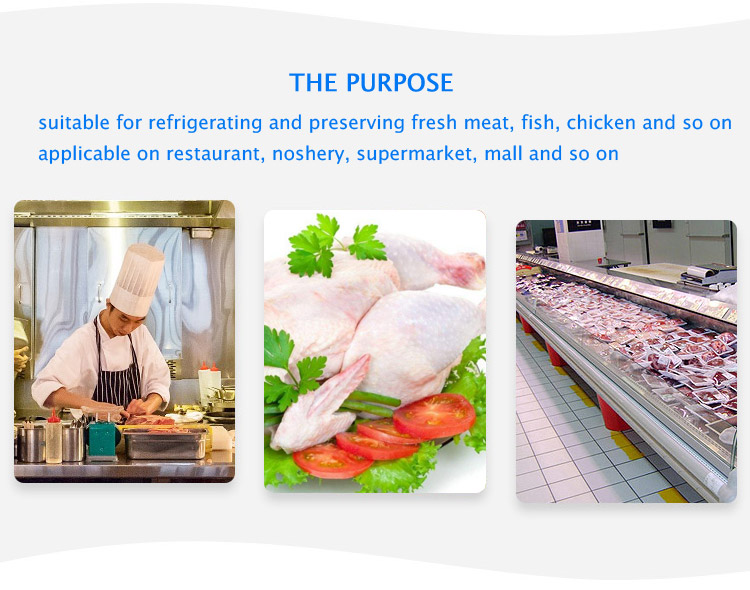 LVNI 1.3m 2m 2.5m 3m supermarket commercial cooked meat sea food deli food display showcase freezer refrigerator with glass door