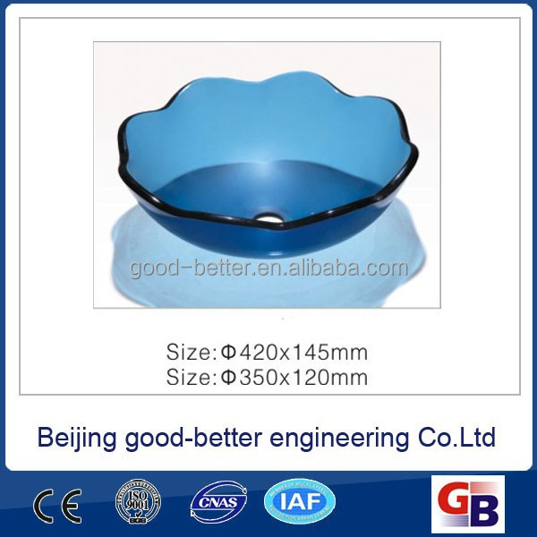Hot selling Blue Pure manual chromatic toyo glass basin