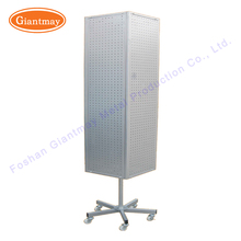 retail store 4 sideds board product metal rotating pegboard floor spinner display stand rack with wheels