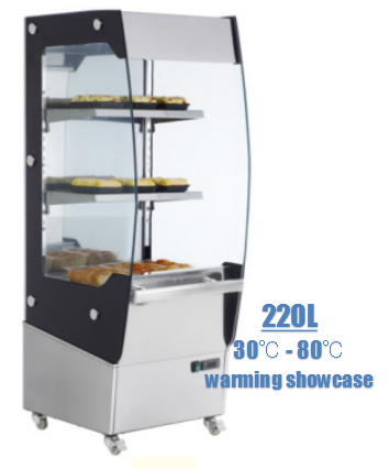220L Glass Food Warmer Display Showcase For Hamburger Egg tarts Pizza Bread Chicken