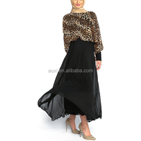 Sexy islamic muslim women chiffon leopard pattern black maxi dress new design dubai fashion abaya kaftan 2014
