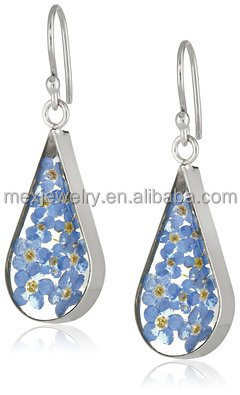 925 silver Real Dried Pressed Flower blue myosotis sylvatica Resin Earring jewelry