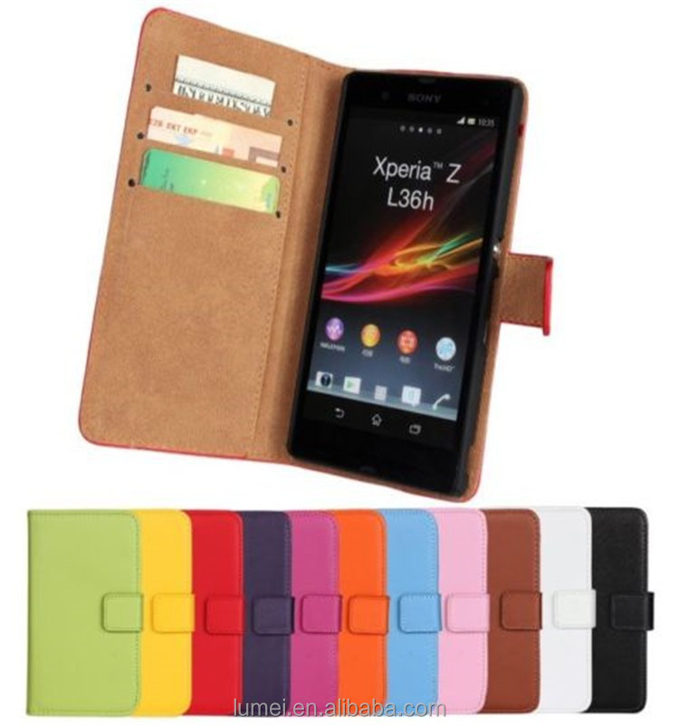 Genuine Leather Wallet Stand Case Cover Protector For Sony Xperia Z C6603 L36H
