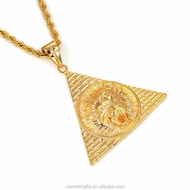 Guangdong factory custom wholesale hip hop lion latest plated gold mens pendants, pendant for men