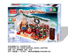 CHRISTMAS TOYS DIY SOUND CONTROL DOOL HOUSE SET WITH MUSIC AND LIGHT TI14110022