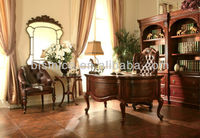 Graceful Home Office/Study Room/Reading Set Designer Furniture,Hand Carved Golden Furniture Bookcase/Wing Chair/Executive Chair