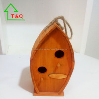 ROUND HANGING WOOD HAND MADE ORANGE OUTDOOR DECOR BIRD HOUSE
