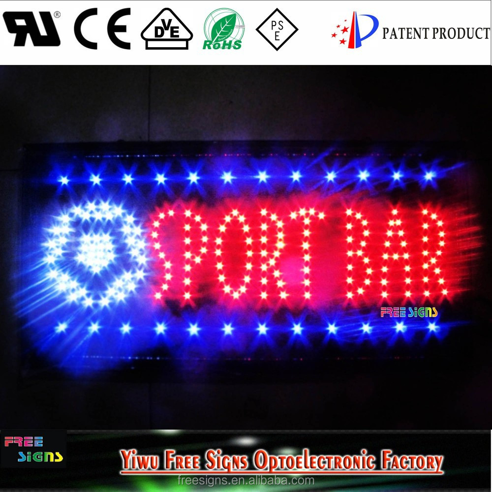 factory direct sales flashing light indoor led sign board/led BAR open sign