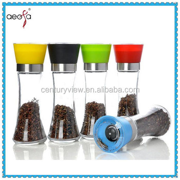 long body color lid glass spice mill wholesale