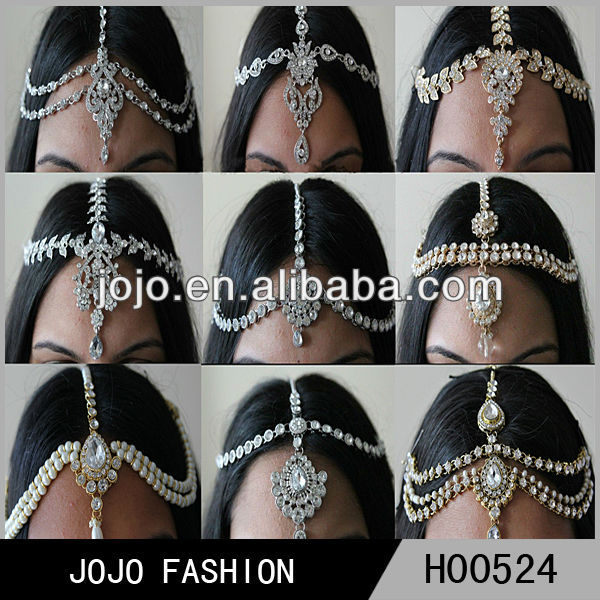 Women hair head piece chain wholesale,crystal head jewelry, indian head chain