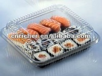 reusable PE/PP square/rectangle clear/transparent plastic sushi/sandwich container/box/packaging with lid/mug/cover
