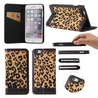 Leopard print flip wallet genuine leather case for iPhone 6