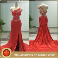 ASAP-03 One Shoulder Pleats Crystals Beaded Split Side A-line Court Train Red Evening Dresses