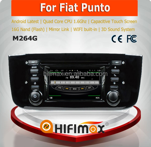 4.3 inch Android 4.4.4 Fiat Punto DVD GPS Navigation System - Quad-Core 16GB Capacitive Screen Mirror Link WiFi Support 3G