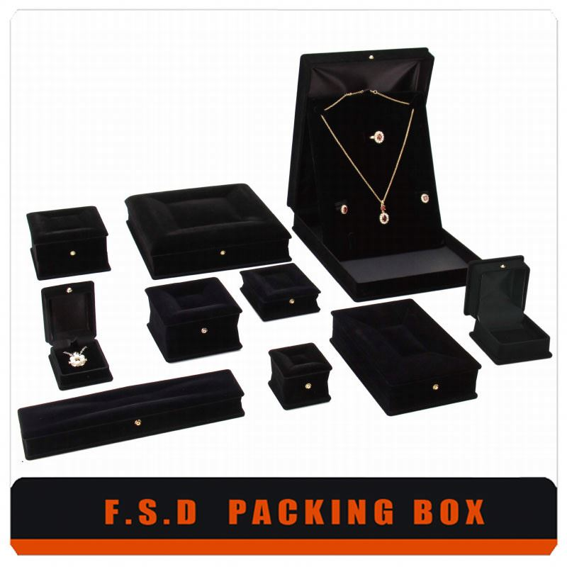 Free Design Print Logo Hot Stamping Black Suede Jewelry Box
