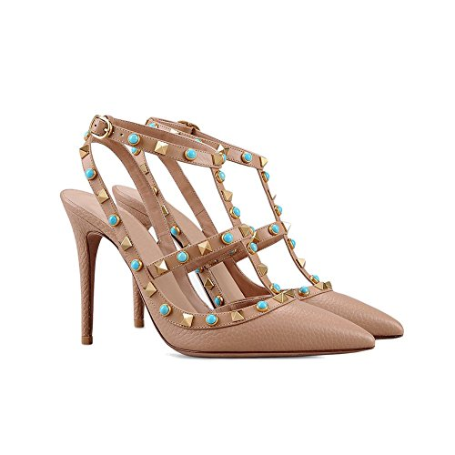 MERUMOTE Women Multicolored Rivets Studs Pointed Toe Sandals Slingbacks Dress Pumps High Heels