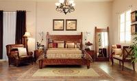 Dark walnut color sliding door wardrobe bedroom set solid wood