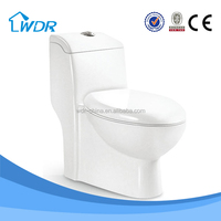 White color siphonic one piece toilet pedestal pan