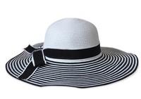 Fashion lady bowknot big straw beach hat foldable women's sunhats sun cap for women