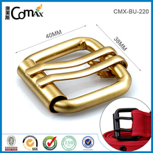 Fashion Men Leather Brushed Gold Double Pin Belt Buckle