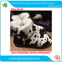 horsehair upper sheepskin liner snow boots cow pattern